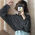T-shirt M L XL XXL Summer of 2019 Long sleeves Crew neck easy Regular routine commute polyester fiber 86% (inclusive) -95% (inclusive) 18-24 years old Korean version originality Thin horizontal stripe As fresh as a new life 121# Polyester 95% polyurethane elastic fiber (spandex) 5%