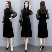 Dress Autumn 2020 black M L XL 2XL longuette singleton  Long sleeves commute Crew neck middle-waisted Solid color Socket A-line skirt routine Others 40-49 years old Type A Gelufan Korean version Splicing More than 95% other other Other 100% Exclusive payment of tmall