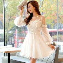 Dress Autumn of 2019 white S,M,L,XL Short skirt Long sleeves Crew neck