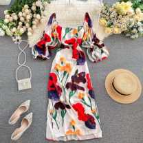 Dress Spring 2020 Average size Mid length dress singleton  Nine point sleeve commute square neck High waist Decor Socket One pace skirt puff sleeve Others 18-24 years old Type A Korean version printing 31% (inclusive) - 50% (inclusive) other other