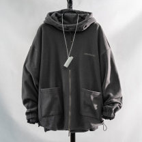 Sweater Youth fashion IEN · patoo / Intemet Grey black red grey Plush black plush red plush S M L XL 2XL 3XL 4XL Solid color Socket routine Crew neck autumn easy leisure time teenagers tide Off shoulder sleeve GF93-13556 Fleece New polyester fiber 100% other Embroidery washing Autumn of 2019 zipper