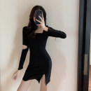 Dress Spring 2021 black S. M, l, collect and pay attention to free freight insurance Short skirt singleton  Long sleeves commute Solid color Korean version cotton