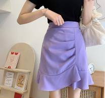skirt Summer 2020 S,M,L,XL Purple, black Short skirt commute High waist A-line skirt Solid color Type A 18-24 years old 91% (inclusive) - 95% (inclusive) polyester fiber