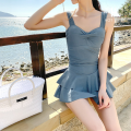 one piece  Hot swim M,L,XL Blue grey Skirt one piece Steel strap breast pad Nylon, spandex, polyester female Sleeveless Casual swimsuit Solid color backless