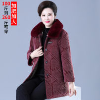 Middle aged and old women's wear Winter 2020 Red, purple XL,XXL,XXXL,4XL,5XL,6XL,7XL,8XL fashion overcoat easy singleton  other 50-59 years old Cardigan thick Double collar Medium length routine XU728 pocket polyester 96% and above