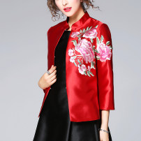 short coat Spring of 2019 S,M,L,XL,2XL,3XL Red, green Nine point sleeve have cash less than that is registered in the accounts routine singleton  Straight cylinder Versatile routine Half open collar Three buttons Solid color 30-34 years old 96% and above Embroidery polyester fiber polyester fiber