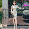 Dress Summer 2020 Decor S M L XL Middle-skirt singleton  Short sleeve commute V-neck High waist Decor zipper One pace skirt routine 25-29 years old Zhiyu Korean version Embroidery More than 95% Chiffon polyester fiber Polyester 100% Pure e-commerce (online only)