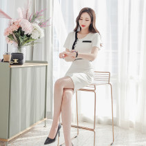 Dress Summer 2020 white S M L Middle-skirt singleton  Short sleeve commute V-neck High waist Solid color zipper One pace skirt routine 25-29 years old Zhiyu Ol style Button 31% (inclusive) - 50% (inclusive) nylon Pure e-commerce (online only)