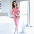 Dress Autumn of 2019 Pink S M L XL Middle-skirt singleton  Long sleeves commute Crew neck High waist Solid color zipper One pace skirt routine 25-29 years old Zhiyu Ol style 91% (inclusive) - 95% (inclusive) polyester fiber Polyester fiber 94% polyurethane elastic fiber (spandex) 6%
