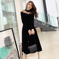 Dress Winter 2020 black S M L XL Mid length dress singleton  Long sleeves commute Crew neck High waist Solid color zipper A-line skirt routine 25-29 years old Zhiyu Korean version Beaded yarn net 9896A 91% (inclusive) - 95% (inclusive) polyester fiber Pure e-commerce (online only)