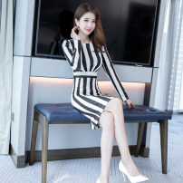 Dress Autumn of 2019 Black and white stripes S M L XL Middle-skirt singleton  Long sleeves commute Crew neck High waist stripe zipper One pace skirt routine 25-29 years old Zhiyu Ol style More than 95% polyester fiber Polyester 95% polyurethane elastic fiber (spandex) 5% Pure e-commerce (online only)