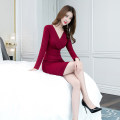 Dress Autumn of 2019 claret S M L XL Middle-skirt singleton  Long sleeves commute V-neck High waist Solid color zipper One pace skirt routine 25-29 years old Zhiyu Ol style More than 95% polyester fiber Polyester 95% polyurethane elastic fiber (spandex) 5% Pure e-commerce (online only)
