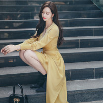 Dress Autumn 2020 yellow S M L XL Mid length dress singleton  Long sleeves commute V-neck High waist Solid color zipper One pace skirt routine 25-29 years old Zhiyu Korean version More than 95% polyester fiber Polyester 97% polyurethane elastic fiber (spandex) 3% Pure e-commerce (online only)
