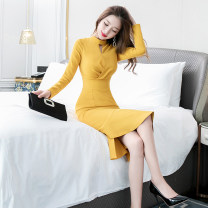 Dress Autumn of 2019 yellow S M L XL Mid length dress singleton  Long sleeves commute Crew neck High waist Solid color zipper One pace skirt routine 25-29 years old Zhiyu Korean version Lotus leaf edge 91% (inclusive) - 95% (inclusive) polyester fiber Pure e-commerce (online only)