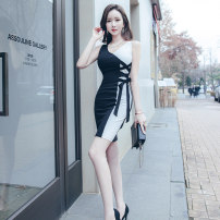 Dress Summer 2021 black S M L XL Middle-skirt singleton  Sleeveless commute V-neck High waist Solid color zipper One pace skirt 25-29 years old Zhiyu Korean version Frenulum 31% (inclusive) - 50% (inclusive) nylon Pure e-commerce (online only)