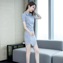 Dress Summer of 2019 Blue stripe S M L XL Short skirt singleton  Short sleeve commute Polo collar High waist stripe Single breasted One pace skirt routine 25-29 years old Zhiyu Korean version Asymmetry 91% (inclusive) - 95% (inclusive) polyester fiber Pure e-commerce (online only)