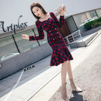 Dress Autumn 2020 gules S M L XL Middle-skirt singleton  Long sleeves commute square neck High waist lattice One pace skirt routine 25-29 years old Zhiyu Korean version Button More than 95% other Other 100% Pure e-commerce (online only)