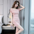 Dress Summer of 2019 Pink S M L XL Miniskirt singleton  Short sleeve commute V-neck High waist Solid color zipper One pace skirt routine 25-29 years old Zhiyu Korean version More than 95% polyester fiber Polyester 95% polyurethane elastic fiber (spandex) 5% Pure e-commerce (online only)