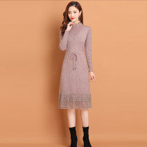 Dress Autumn 2020 Blue, red, black, Mecca, coffee S,M,L,XL,XXL,XXXL longuette singleton  Long sleeves commute Half high collar middle-waisted Solid color Socket A-line skirt routine 25-29 years old Other / other Splicing knitting