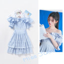 Dress Summer 2020 blue S,M,L Short skirt singleton  Short sleeve Sweet One word collar High waist Solid color Socket A-line skirt routine camisole 25-29 years old Type X Ruffle, Gouhua, cut-out, zipper 91% (inclusive) - 95% (inclusive) other polyester fiber Ruili