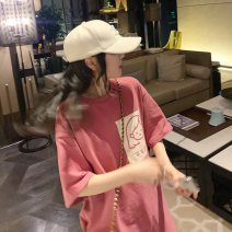 T-shirt 409 * Pink 409 * white M L XL 2XL Summer 2020 Short sleeve Crew neck easy Regular routine commute other 96% and above 18-24 years old Korean version originality Geometric figure Shi Su ZZTT51659 printing Other 100%