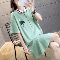 Dress Summer of 2019 Km7774 pink km7774 blue km7774 green M L XL XXL Short skirt commute Polo collar Loose waist Cartoon animation routine 18-24 years old Type H Younaye Korean version Patchwork button print More than 95% other Other 100%