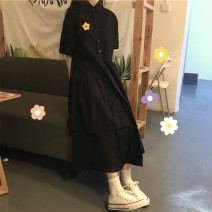 Dress Summer 2020 Black and white M L XL XXL Mid length dress singleton  Short sleeve commute Polo collar High waist Solid color Socket Irregular skirt routine Others 18-24 years old Ailanthus Korean version Three dimensional decorative button More than 95% other other Other 100%