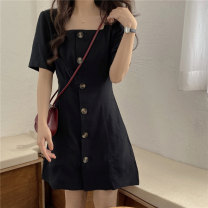 Dress Summer 2020 black M L XL XXL Short skirt singleton  Short sleeve commute square neck middle-waisted Solid color Single breasted A-line skirt puff sleeve Others 18-24 years old Type A Ailanthus Korean version Button More than 95% other Other 100% Pure e-commerce (online only)