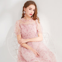 Dress Summer 2020 96 decors 155/80A,160/84A,165/88A,170/92A longuette singleton  Short sleeve commute Doll Collar Decor Socket Princess Dress puff sleeve Others 25-29 years old Type X Lesies / blue lady LS506407 other