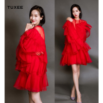 Dress Spring of 2019 Picture color S,M,L Mid length dress Fake two pieces Long sleeves Crew neck Ruffle Skirt Lotus leaf sleeve camisole TUXEE