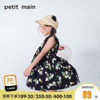 Dress female PETIT MAIN 80cm 90cm 100cm 110cm 120cm 130cm Cotton 100% summer Skirt / vest Pure cotton (100% cotton content) Pleats Class A Summer of 2019 12 months, 18 months, 2 years old, 3 years old, 4 years old, 5 years old, 6 years old, 7 years old and 8 years old