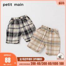 trousers PETIT MAIN male 90cm 100cm 110cm 120cm 130cm Army Green Black summer Pant leisure time No model Beach pants Leather belt middle-waisted Cotton 83.6% flax 12.8% polyurethane elastic fiber (spandex) 3.6% Summer 2021