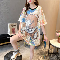 Women's large Summer 2021 Picture color Average size singleton  commute easy Socket Short sleeve Cartoon animation Korean version Crew neck Medium length Three dimensional cutting routine Wild goose bean 18-24 years old Lace stitching Middle-skirt Polyethylene terephthalate (polyester) 100%