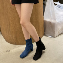 Boots 35, 36, 37, 38, 39, 40, the size of Korean shoes is small, it is recommended to consult customer service Beige a51s7105, caramel a51s7105, khaki a51s7105, blue a51s7105, black a51s7105 Suede Other / other Middle heel (3-5cm) Thick heel Suede Short tube Square head PU PU Spring 2020 Side zipper