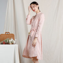 Dress Spring of 2019 Yjcl134 orange 08 36 38 40 Middle-skirt singleton  Long sleeves commute Polo collar routine 30-34 years old Oneaddonegood literature YJCL134 More than 95% cotton Cotton 100% Same model in shopping mall (sold online and offline)