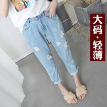 Women's large 999 25-29 years old Denim polyester cotton Michelle Pascal 51% (inclusive) - 70% (inclusive) Cotton 70% polyester 30% Pure e-commerce (online sales only) 161g / m ^ 2 (inclusive) - 180g / m ^ 2 (inclusive) Summer of 2019 Jeans singleton  commute thin easy Solid color Korean version