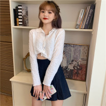 shirt Apricot, white, black Average size Autumn 2020 other 51% (inclusive) - 70% (inclusive) Long sleeves commute Short style (40cm < length ≤ 50cm) Polo collar Single row multi button routine Solid color 18-24 years old Self cultivation Korean version