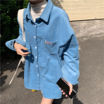 shirt Fog blue, forest green, pink Average size Winter 2020 other 96% and above Long sleeves commute Medium length Polo collar Single row multi button shirt sleeve Solid color 18-24 years old Korean version