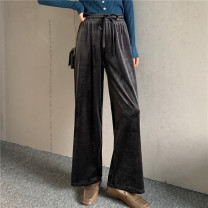 Casual pants Dark grey, black Average size Winter 2020 trousers Wide leg pants Natural waist Versatile 18-24 years old 51% (inclusive) - 70% (inclusive) cotton