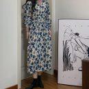 Dress Spring 2021 Tulip blue Average size Mid length dress singleton  Long sleeves commute V-neck High waist Broken flowers A-line skirt routine 18-24 years old Type A Korean version