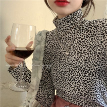 T-shirt Picture color Average size Winter 2020 Long sleeves High collar Self cultivation Regular routine commute other 96% and above 18-24 years old Korean version youth Leopard Print printing
