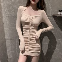 Dress Spring 2021 Apricot, orange, black S,M,L,XL Short skirt singleton  Long sleeves commute square neck High waist Solid color Socket One pace skirt routine Others 18-24 years old T-type Korean version Pleat, pleat 81% (inclusive) - 90% (inclusive) knitting cotton