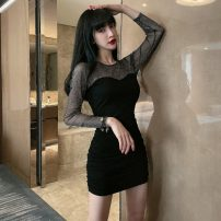 Dress Spring 2021 black S,M,L,XL Short skirt singleton  Long sleeves commute Crew neck High waist Solid color Socket One pace skirt routine Others 25-29 years old T-type Korean version Pleating, stitching, mesh 71% (inclusive) - 80% (inclusive) other polyester fiber
