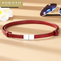 Belt / belt / chain top layer leather 10093 red 10093 black 10093 white female belt Sweet Single loop Youth, middle age and old age a hook Glossy surface soft surface 1cm alloy alone POKOTO Summer 2020