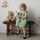 Dress Avocado Green female Other / other 90cm,100cm,110cm,120cm,130cm Flax 55% cotton 45% summer princess Short sleeve Solid color flax Splicing style MZ20LB0478T Class B 18 months, 2 years old, 3 years old, 4 years old, 5 years old, 6 years old Chinese Mainland