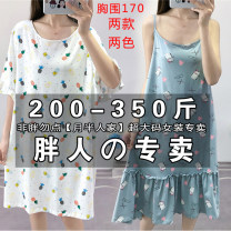 Nightdress Other / other Simplicity Short sleeve pajamas longuette spring Cartoon animation youth Crew neck cotton printing 81% (inclusive) - 95% (inclusive) Regenerated fiber