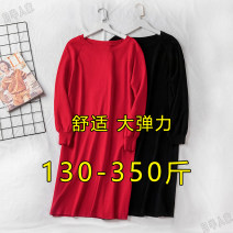 Women's large Winter 2020, autumn 2020 Black, red 2XL (130-150 kg recommended), 3XL (160-190 kg recommended), 4XL (200-230 kg recommended), 5XL (240-270 kg recommended), 6xl (280-310 kg recommended), 7XL (320-350 kg recommended) sweater singleton  commute easy thick Socket Long sleeves Solid color