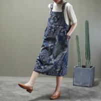 skirt Spring 2020 L,XL Light blue, Navy Mid length dress commute Natural waist A-line skirt Decor Type A 30-34 years old More than 95% Denim other literature