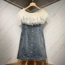 Dress Summer 2021 blue S,M,L,XL Short skirt singleton  Short sleeve commute One word collar High waist Solid color A-line skirt puff sleeve 25-29 years old Type A lady 71% (inclusive) - 80% (inclusive) Denim polyester fiber
