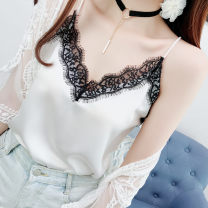 Vest sling Autumn of 2019 Black, white S,M,L,XL singleton  routine Straight cylinder Sweet camisole Solid color 18-24 years old 96% and above other Stitching, lace